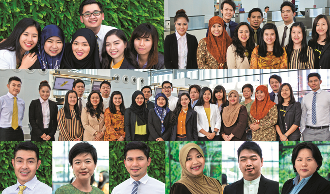 <b>ABOVE</b> (Left to right) 2013 General Management Trainees, 2014 Graduate Trainees <br/><b>MIDDLE</b> Former trainees and current graduate trainees of Royal Brunei Airlines<br/><b>BELOW</b>(Left to right) Former Executive and General Management Trainees from 1995 to 2010: Aji Puteh, Head of Corporate Services; Masrini Abdullah, Traffic Operations Manager; Ilyas Rory Teo, International Relations Manager; Mardyyana Kasim, Brand Communications Manager; Patrick Soon, Regional Sales Manager; Josephine Ang, E-Marketing Controller; Rojeam Hee Tze Kiong, Brand Communications Controller (not in picture).