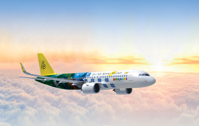 The special livery A320NEO aircraft to promote Brunei Tourism.